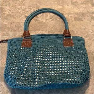 Teal/ Silver Boho Crochet Purse